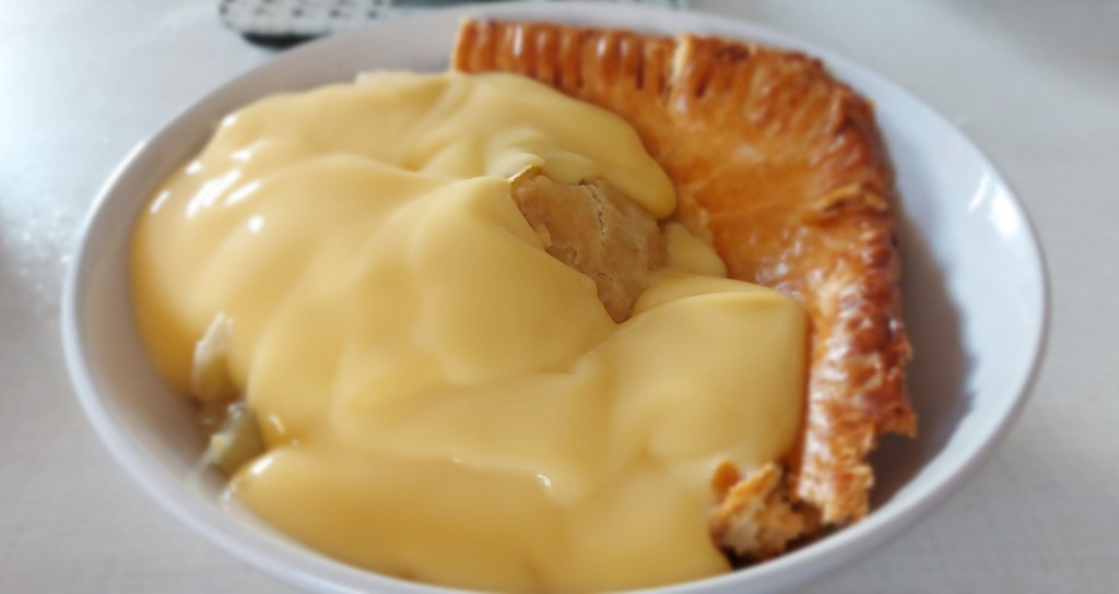 Apple and Rhubarb Pie in Cheddar Pastry.  Easy to make, will be a definite crowd pleaser
